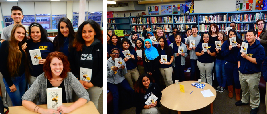 Author Laura Ruby with a group of CICS Northtown seniors (left) and with students in the Book Club and Literary Journal (right)