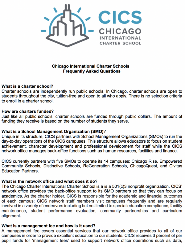 Chicago International Charter Schools: Frequently Asked Questions