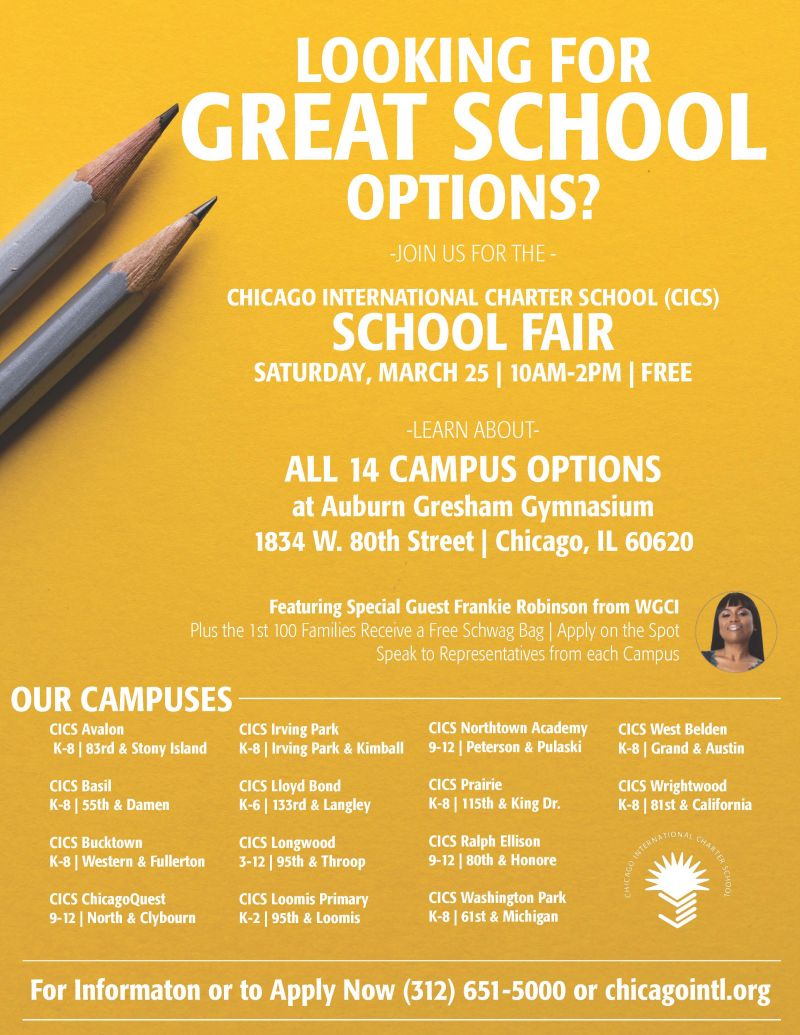 CICS to Host Free School Fair Saturday March 25th @ the Auburn-Gresham Gymnasium